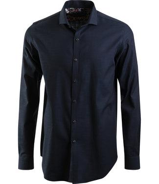 effen donkerblauw hemd, slim fit
