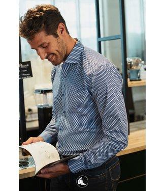 FORMEN blauw slim fit hemd met mooi motief