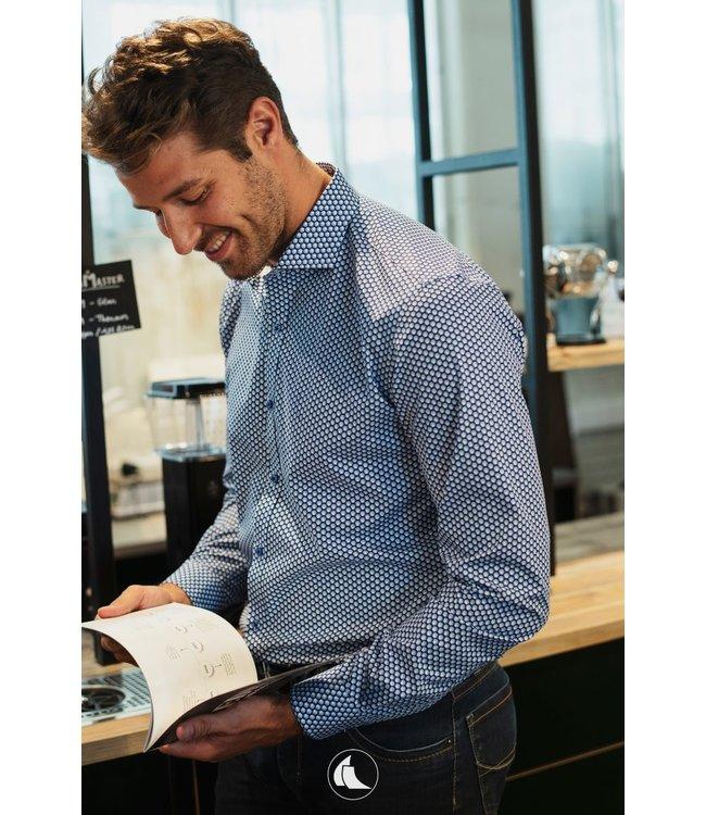 blauw slim fit hemd met mooi motief