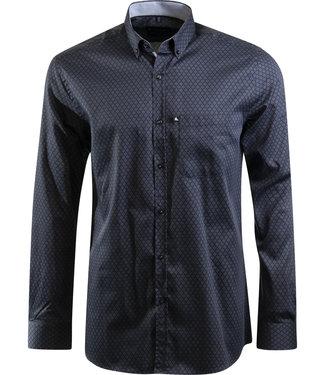FORMEN donkerblauw hemd met knap dessin