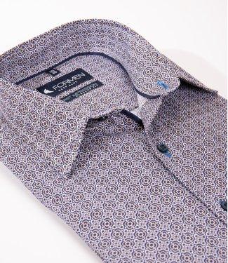 regular hemd met blauw-bruine tegelprint