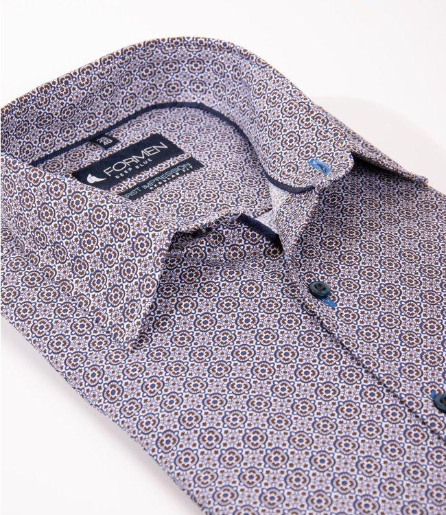 FORMEN regular hemd met blauw-bruine tegelprint