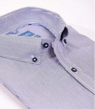 donkerblauw gestreept hemd, slim fit