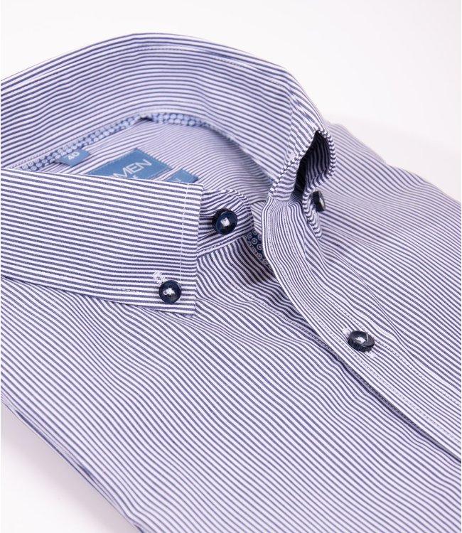 FORMEN donkerblauw gestreept slim fit hemd