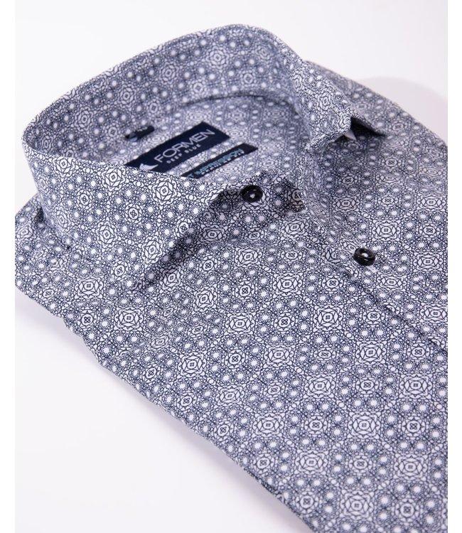 overhemd met donkerblauw dessin