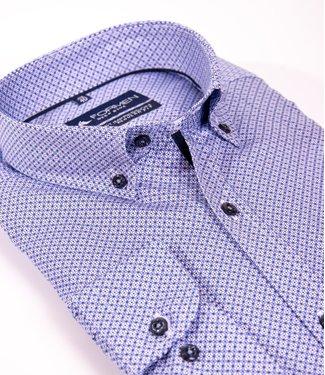 FORMEN blauw overhemd met tof motief