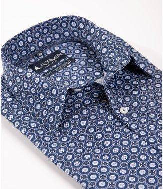 FORMEN blauw hemd met stijlvol motief