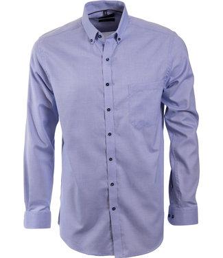 effen blauw hemd met microstructuur