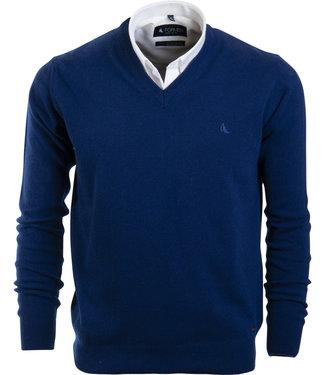 FORMEN v-hals trui in lamswol, koningsblauw