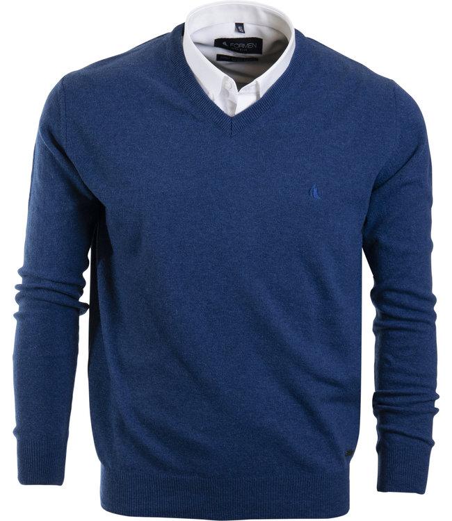 FORMEN merino pull met v-hals, jeansblauw