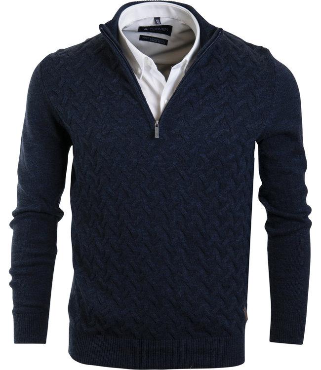 donkerblauwe trui met korte rits