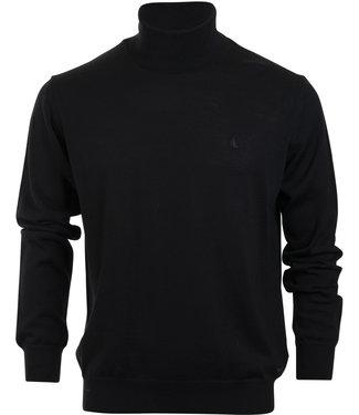 FORMEN zwarte, fijn gebreide trui met rolkraag