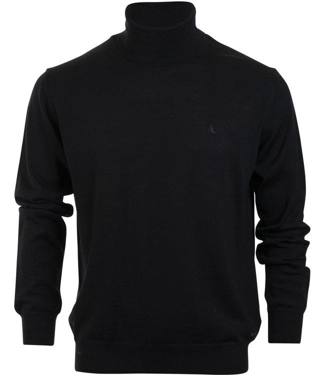 zwarte, fijn gebreide trui met rolkraag