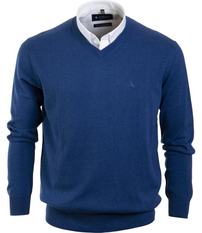 FORMEN v-hals trui in katoen, koningsblauw