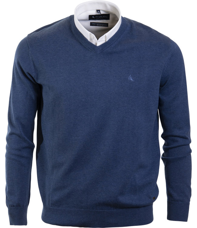 v-hals trui in katoen, jeansblauw