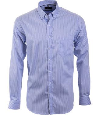 FORMEN blauw gestreept hemd, regular fit