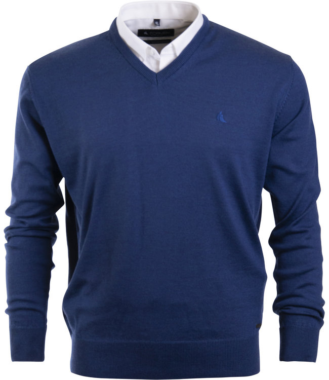 v-hals trui in lamswol, jeansblauw