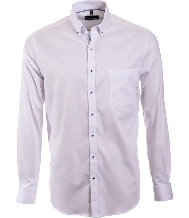 wit overhemd met button down kraag