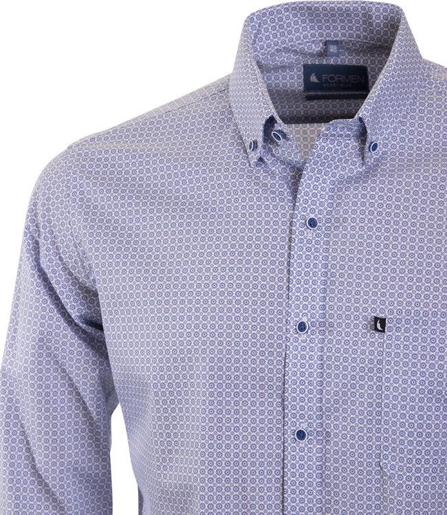 FORMEN stijlvol hemd met koningsblauw motief