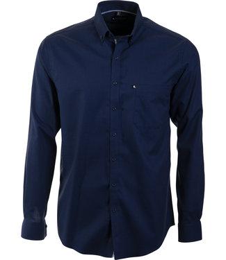 donkerblauw twill hemd met knoopjeskraag