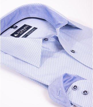FORMEN lichtblauw hemd met klein motief