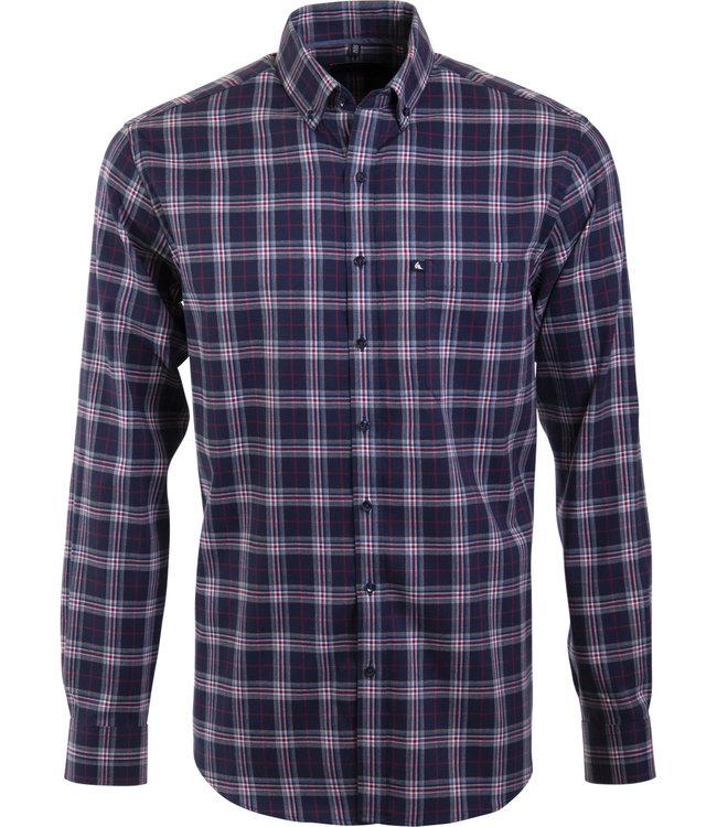 FORMEN knap geruit overhemd met bordeaux accent
