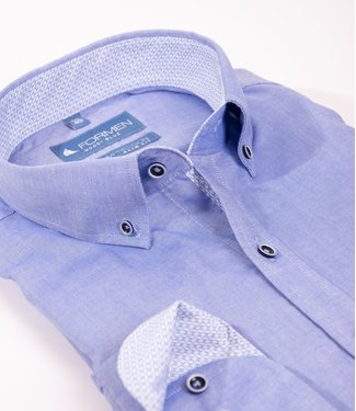 FORMEN effen blauw hemd, slim fit
