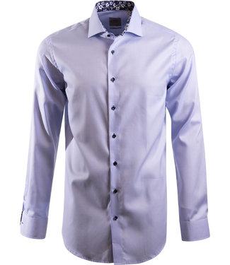 lichtblauw hemd met Italiaanse kraag, slim fit