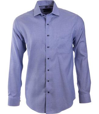 blauw business shirt met microdessin
