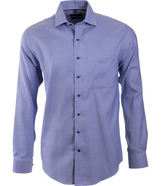FORMEN blauw business shirt met microdessin