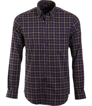 FORMEN blauw geruit hemd met knoopjeskraag
