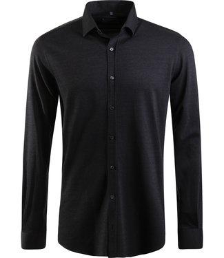 antraciet tricot hemd, slim fit