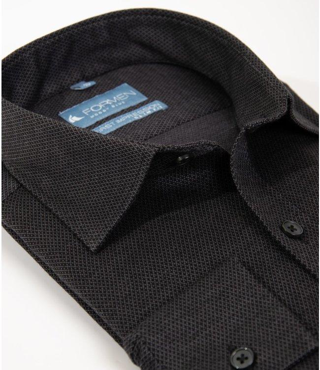 FORMEN antraciet tricot hemd, slim fit