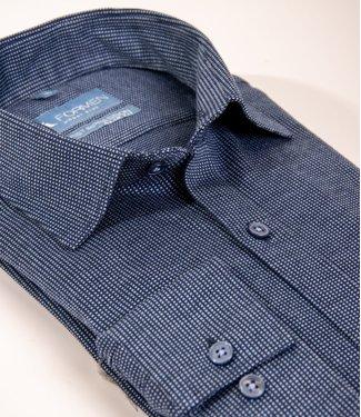 FORMEN blauw tricot hemd, slim fit