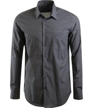 zwart slim fit hemd met print