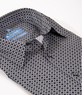 FORMEN zwart slim fit hemd met print