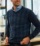 blauwe trui met v-hals en apart patroon