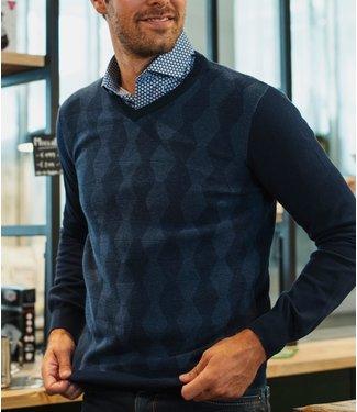 FORMEN blauwe trui met v-hals en apart patroon