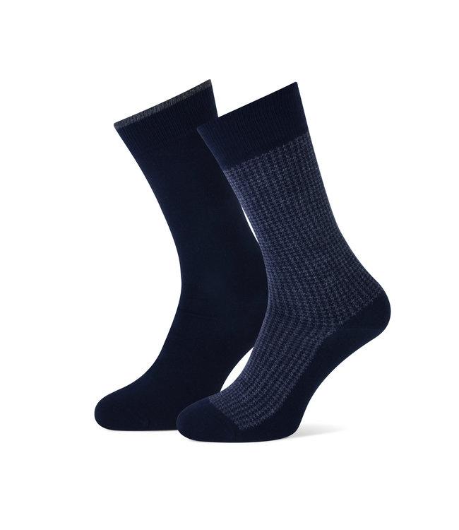 duopack sokken navy pied de poule