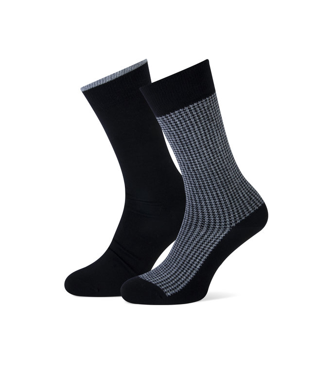 duopack sokken pied de poule zwart