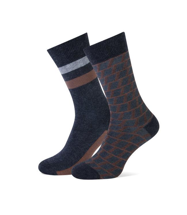 duopack sokken motief grijs bruin