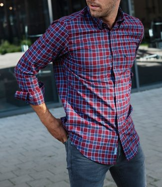 FORMEN bordeaux geruit slim fit overhemd