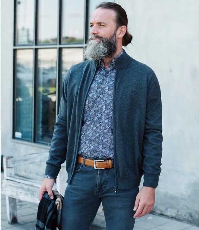 FORMEN grijze trui met rits en opstaande kraag
