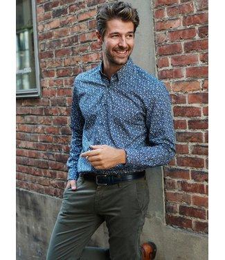 knap hemd met blad print