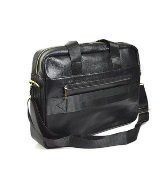 laptoptas in leder, zwart