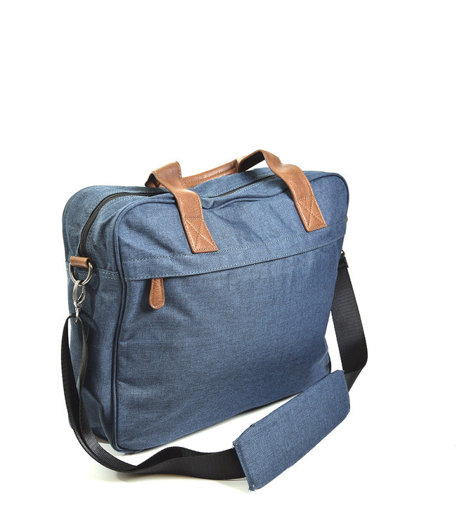 laptoptas nylon blauw