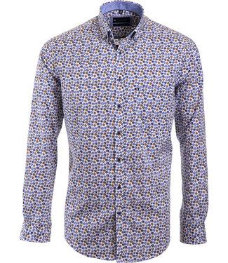 hemd met camel en blauw floraal motief
