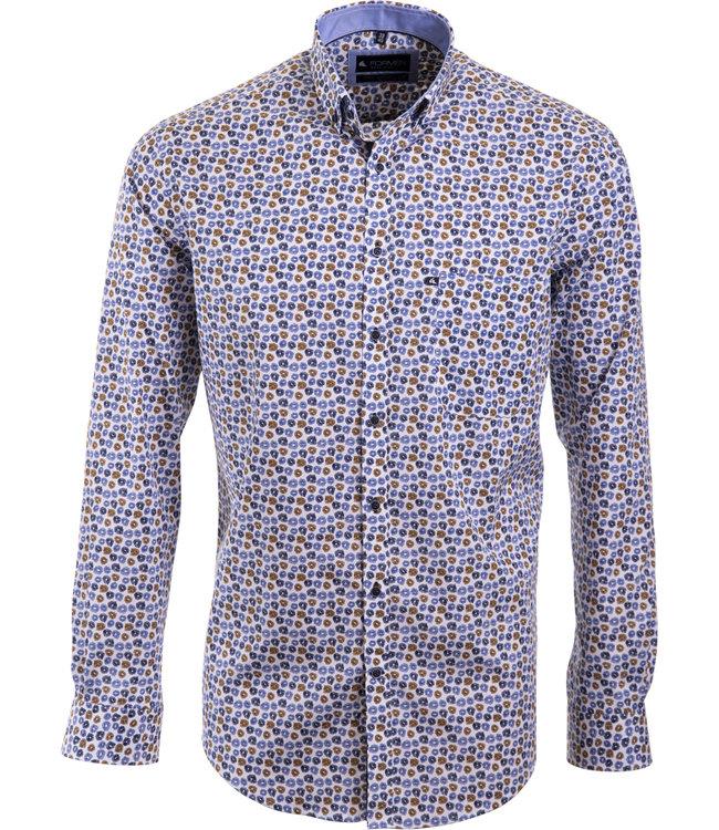 FORMEN hemd met camel en blauw floraal motief