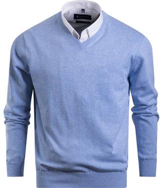 FORMEN v-hals trui in katoen, lichtblauw
