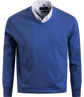 FORMEN v-hals trui in katoen, jeansblauw